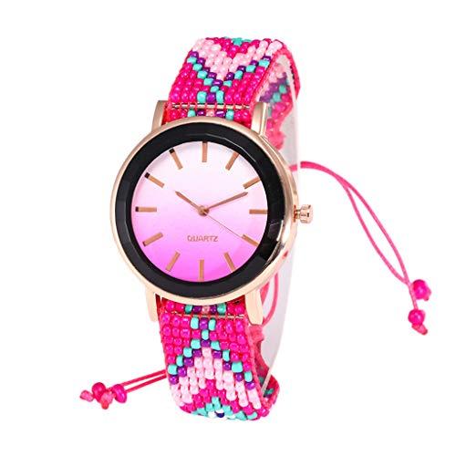 Moda 2019 Reloj de Cuarzo para Mujer de Cristal de Gama Alta con Cuerda Trenzada Hecha a Mano TOPKEAL Reloj Juvenil (C)