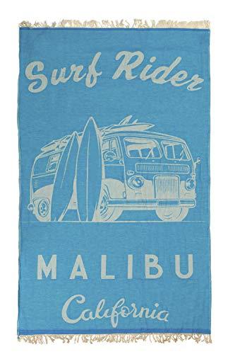 TEXTIL TARRAGO Toalla de Playa fouta Hamman Flat 90x170 cm 100% Algodon Egipcio Van Malibu Surf Rider FAC06
