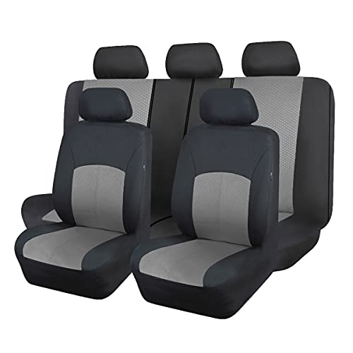 Flying Banner car seat Covers Full Set Protectors hot Stamp Breathable airbag Compatible Rear Bench Split 40/60 50/50 60/40 Easy to Install, Universal Fit for Auto Truck Van SUV (Gray Black)