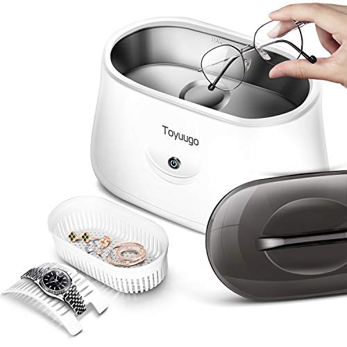 Toyuugo Ultraschallreiniger 650ml Ultraschallreinigungsgerät Ultraschallbad 42000Hz Ultraschallgerät für Brillen Schmuck Uhren Halsketten Rasierer Zahnprothesen mit Reinigungskorb und Uhrenständer