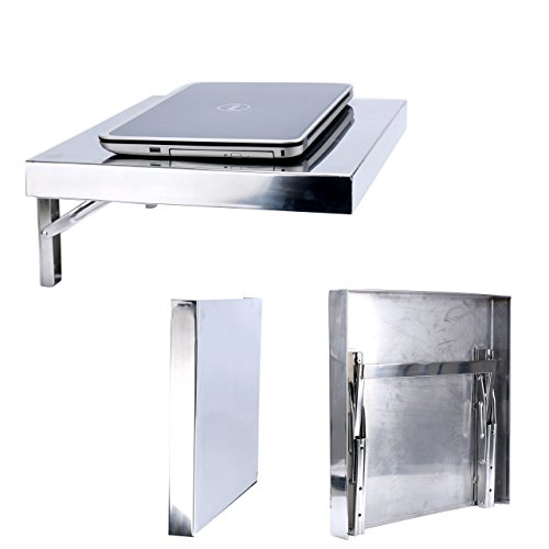 Amarine Made Workstation, Stainless Steel Wall-Mount Folding Wall Desk for Laptop,PC Desk