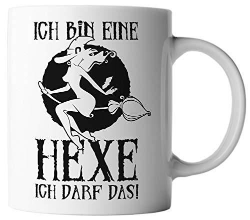 vanVerden Tasse Ich bin eine Hexe ich darf das! Halloween Spruch Motto Mug, Farbe:Weiß/Schwarz