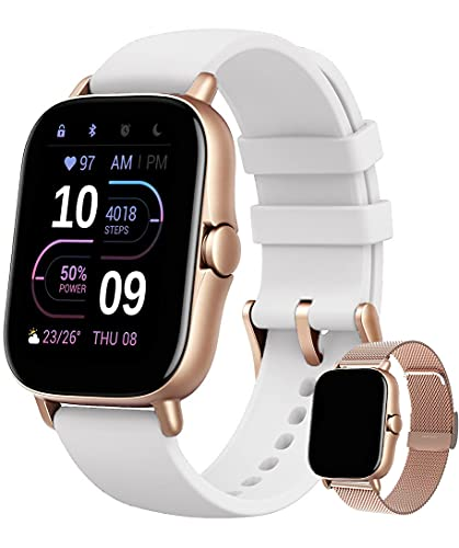 Smartwatch Damen Fitness Armband Uhr | GRATIS Metallband | Sport Bluetooth Kalorien Tracker Pulsuhr Schrittzähler Blutdruckmessung | Voll Touch Screen IP67 Wasserdicht IOS-Android