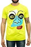 BLEECKER & MERCER Mens T Shirts Hip Hop Streetwear Fashion Tees - Graphic Print - Privileged Chenille Logo- Flower Embroidery (TP024- NEON Yellow w Face Graphic, XL)