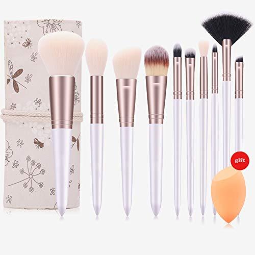 EDTEPF Pinceau Maquillage Ensemble 10 Pièces pour Fard Joues, Poudre Libre, Surbrillance, Ombre Paupières, Lèvres, Pinceau Maquillage Sourcils Doux Confortable avec Œuf de Beauté