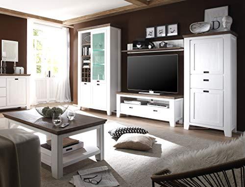 expendio Wohnzimmer Barnelund Akazie weiß 5-teilig Wohnwand Couchtisch Vitrine Highboard Lowboard Wandboard Landhausmöbel