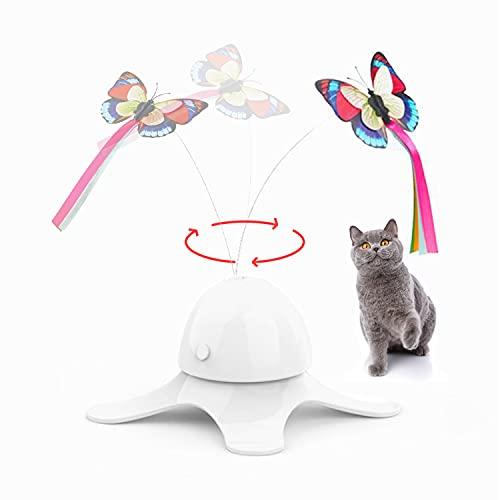 Suhaco Mariposa juguete para gatos eléctrico interactivo, gatito giratorio, juguete teaser divertido autónomo, mariposa para gatos (color blanco)
