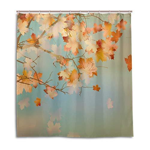 CPYang Duschvorhänge Herbst-Ahornblätter, wasserfest, schimmelresistent, Badevorhang, Badezimmer, Heimdekoration, 168 x 182 cm, mit 12 Haken