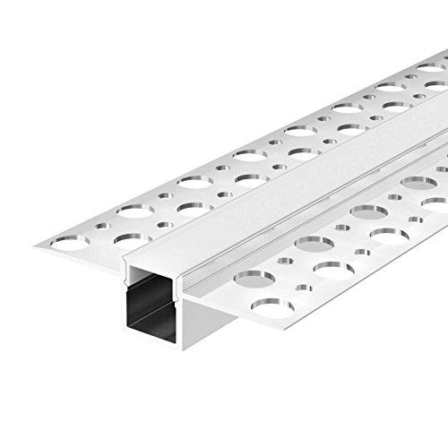 FEDA (FE) Trockenbauprofil Aluminium 2m eloxiert | Trockenbauleiste für Led Streifen bis 1cm Breite | Trockenbauprofil + Acryl Abdeckung milchig (opal) zum Einklicken | Aluprofil belastbar