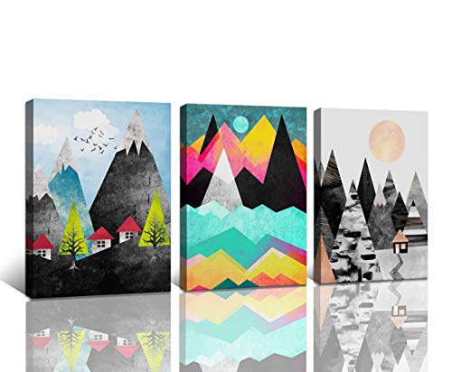 Wall Artworks Pictures Abstract Geometric Forest Sunset Canvas Prints for Bedroom Bathroom Wall Decor Mountain Peaks Flying Birds Colorful Painting 3 Pieces Home Decoration Living Room Office