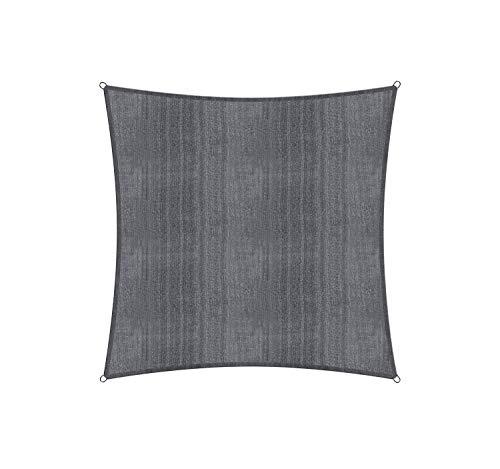 Lumaland Sonnensegel inkl. Befestigungsseile, 100% HDPE mit Stabilisator für UV Schutz, Quadrat 4 x 4 Meter dunkelgrau