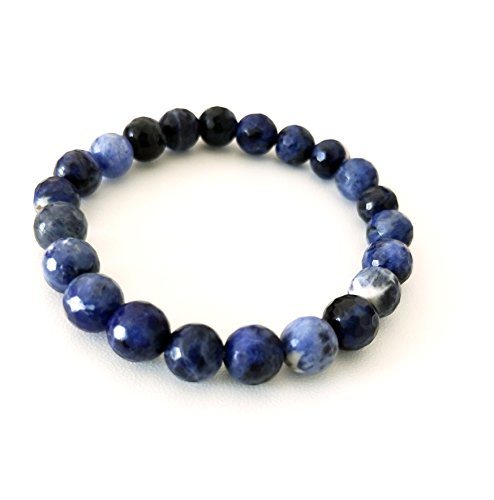 All Natural Faceted Sodalite Unisex Gemstone Stretch Bracelet