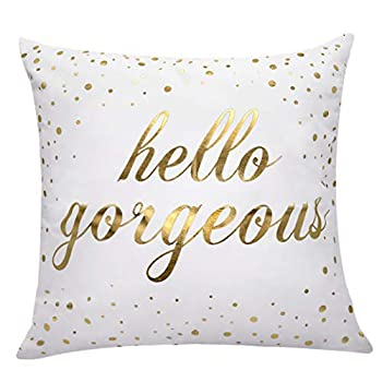 XUWELL Inspirational Quotes Gold Hello Gorgeous Soft Throw Pillow Cover Motivational Sign Cushion Case for Sofa Bed Home Decor 18 x 18 Inch