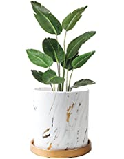 Marble Plants Pot Indoor, 7.7 Inch Plants and Planters Pots Modern Nordic Style Ceramic Marble Look Scrub Flower Pots with Ceramic Tray for Succulent Cactus Home Office Decoration