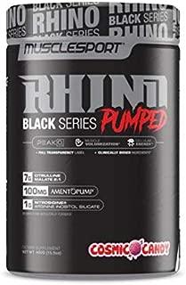 Rhino Black® Pumped, Stimulant Free, Pre Workout Powder, Nitric Oxide Booster, Pumps, Lean Muscle Mass, Nitrosigine, Citrulline, Focus (400 Grams, Cosmic Candy)