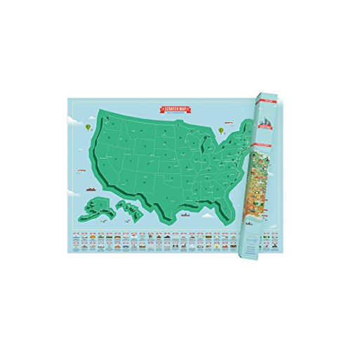 Luckies of London Weltkarte zum Rubbeln - Das Original Scratch Map, USA Edition, Groß, 82,5 x 59,4cm