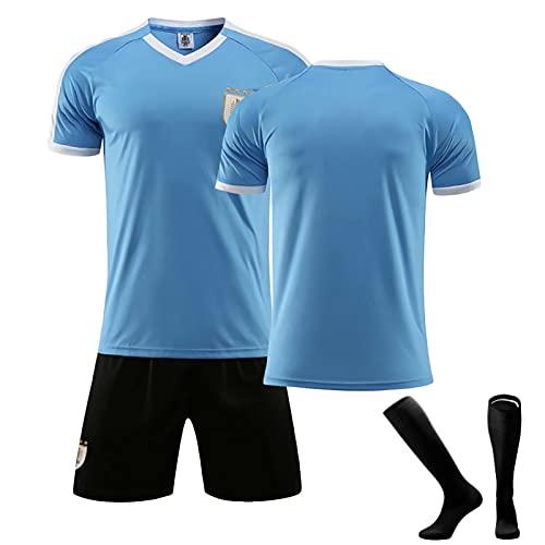 ZYWCXM Erwachsene- und Kinderfußballuniformen, geeignet für Uruguay Cavani 21 Suárez 9 Trikots, Schnelltrocknungs-Lüfter Sportswear-Polyester, kann wiederholt gereinigt wer blue-20