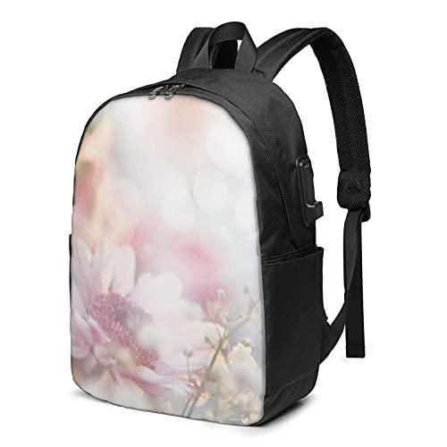 Pretty Flower - Mochila de viaje para portátil con puerto de carga USB para hombres y mujeres de 17 pulgadas, ver imagen, Talla única,