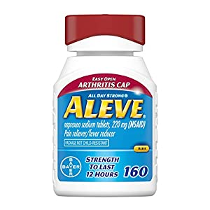 Just Two pills for all day pain relief. Each pill has the strength to last 12 hours. Aleve's Triple Benefit: proven relief, all day long, with fewer pills. Each pill has the strength to last 12 hours. Based on minimum labeled dosage. Aleve is an over...