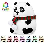 Veilleuse Enfant Panda, SOLMORE Panda Veilleuse Bébé Portable Multicolor Lampe de Panda en Silicone, Blanc Chaud et 6 Couleurs Respiration, Robinet Sensibles de Contrôle USB Rechargeable
