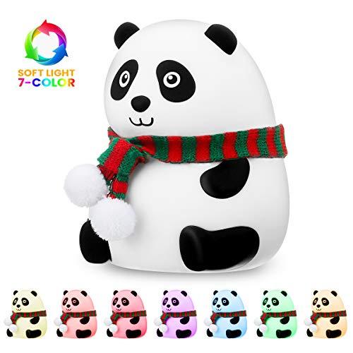 Nachtlicht Kind, SOLMORE LED Nachttischlampe USB Wiederaufladbare Silikon Panda Baby Einschlafhilfe LED Nachtlampe mit 7 Farben & Warm Licht, Touch Control, 1200mAh Nachtlampe für Kinderzimmer