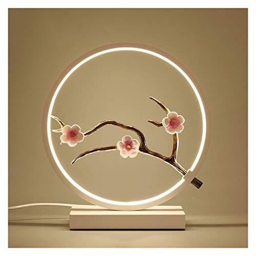 NBVCX Hauptdekoration Kristallsalzlampe Kreis Dimmbare LED-Tischlampe Moderne runde Lampe, einzigartiges Design Zeitgenössische Beleuchtung, 5 W, weiße Kristallstein-Meersalzlampe (Farbe: Paar)