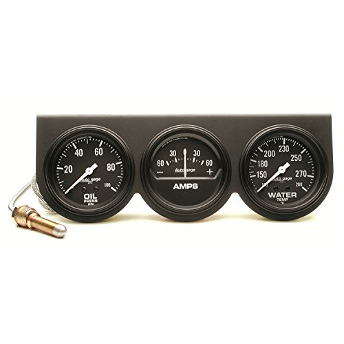 AUTO METER 2394 Autogage Black Oil/Amp/Water Gauge with Steel Console,2.625 in.