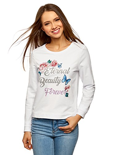 oodji Ultra Damen Baumwoll-Sweatshirt mit Druck, Weiß, DE 34 / EU 36 / XS