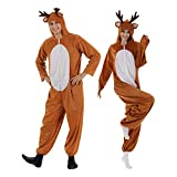 EraSpooky Christmas Reindeer Adult Costume Unisex Deer Animal Onesie Party Jumpsuit