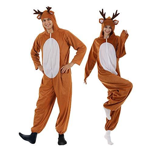 EraSpooky Christmas Reindeer Adult Costume Unisex Deer Animal Onesie Party Jumpsuit Brown