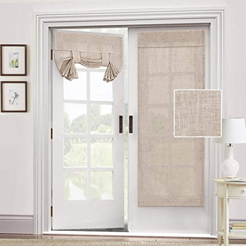 Natural Linen Blended Door Curtain - Privacy French Door Curtain Light Filgtering Tricia Window Door Curtain for Patio Door Sidelight Glass Door Blind Tie Up Shade, 26 x 68 inches,2 Panel, Angora