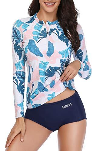 Daci Women Rash Guard Long Sleeve Zipper Bathing Suit with Built in Bra UPF 50 Pink XL