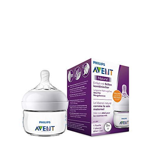 Philips Avent Natural Flasche SCF039/17, 60 ml, naturnahes Trinkverhalten, Anti-Kolik-System, transparent, 1er...