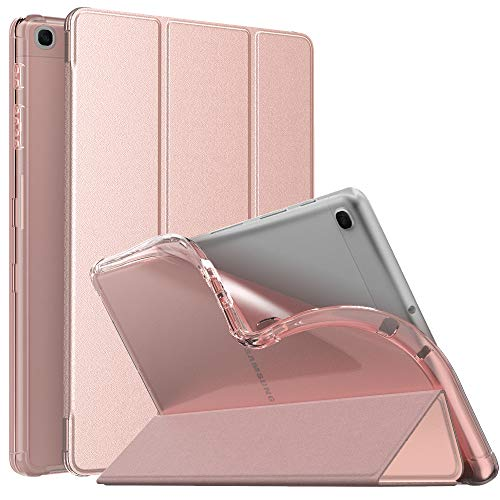 MoKo Funda Compatible con Samsung Galaxy Tab A7 Lite 8.7-Inch 2021 Tableta, Cubierta Protectora Plegable Inteligente Ultra Delgada TPU Trasera Transparente con Soporte Triple, Oro de Rosa