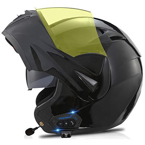 ZLYJ Caschi Modulari Apribili per Moto con Casco Bluetooth, Casco Integrale Bluetooth Integrato per Moto con Doppia Visiera, Certificati ECE D,M(57-58cm)