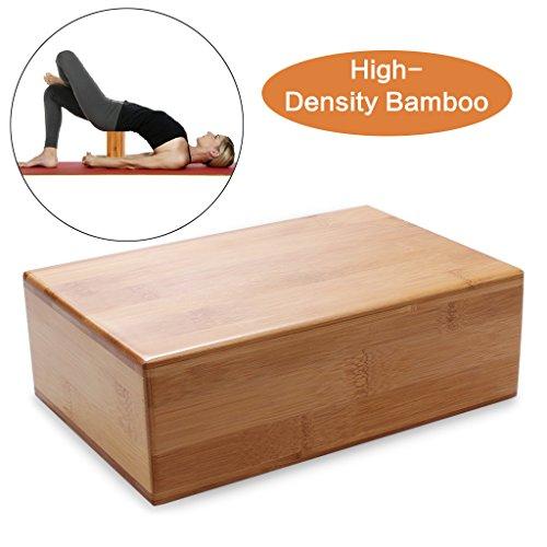 edealing Bamboo Yoga Bricks - natürliche, umweltfreundliche, ungiftig, dauerhafte rechteckige Block-Tool für Yoga Fitness Sport Training