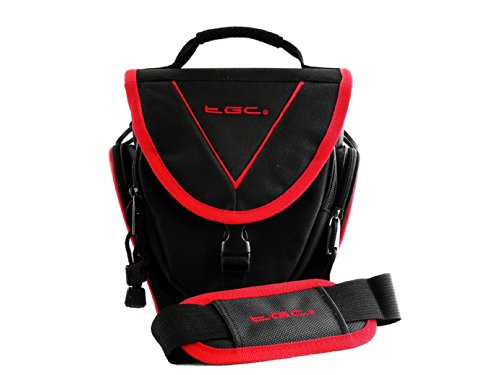 TGC ® Easy Access SLR Camera Case voor Sony Alpha NEX-3N, met 16-50mm of 55-210mm Lens Attached Plus Accessoires, Black with Crimson Red Trim/Lining
