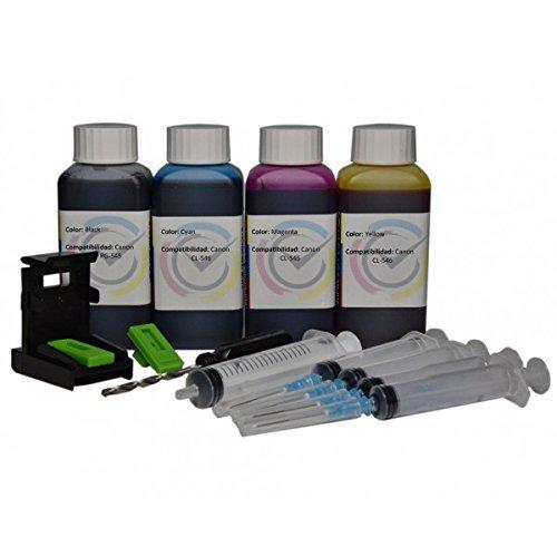 Кit Recambio para Cartucho Canon PG-545XL / CL-546XL Negro y Color, Tinta de Calidad altà, Refill para Impresora PIXMA MG 2550 / MX 495 / MG 2950 / IP 2850 / MG 2450