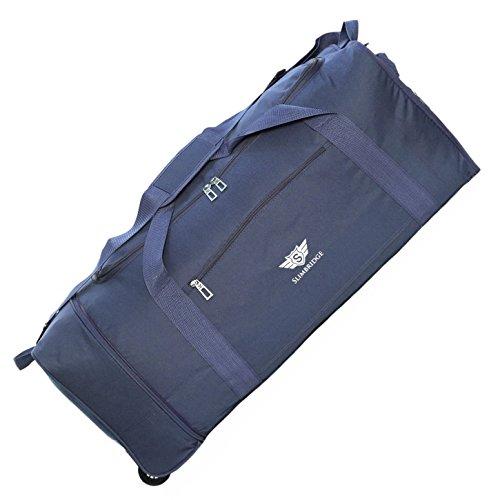Slimbridge Große Reisetasche Rollenreisetasche XL Trolley Gepäcktasche mit Rollen - 87 Liter 80 cm 950 Gramm Faltbare auf 2 Rädern, Havant Blau