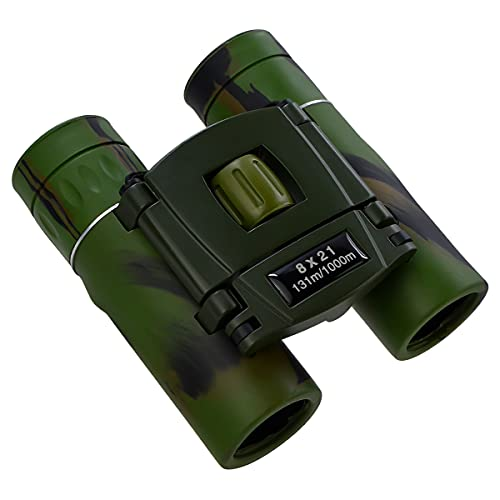 8X21 Compact Zoom Binoculars for Adults and Kids, Mini Small Size Folding HD Powerful Bak-4 Prisms & FMC Optics Binocular for Bird Watching Hunting Sports Games Hiking and Concerts (Camouflage)