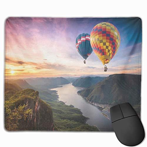 Nettes Gaming-Mauspad, Schreibtisch-Mauspad, kleines Mauspad für Laptop-Computer, Mausmatte Grün Bunte Heißluftballons, die über auf Mae Ping-Nationalpark bei Sonnenaufgang fliegen
