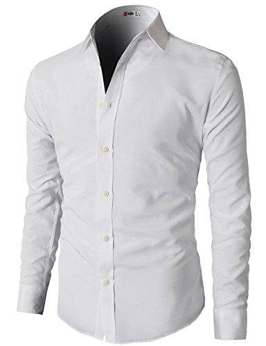 H2H Mens Oxford Cotton Slim Fit Dress Button-down Shirts Long Sleeve WHITE US M/Asia L (KMTSTL0219)