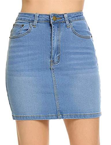 Classic five pockets Denim Short Pencil Skirt for Juniors, Blue, Large