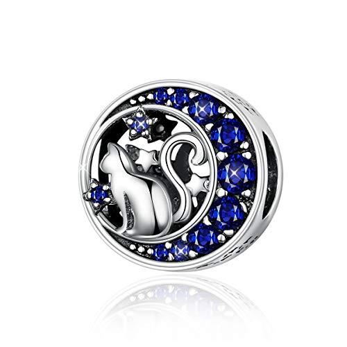 Ciondolo a forma di gatto in argento Sterling 925 in una luna con stelle di zirconia cubica blu, compatibile con braccialetti e collane Pandora.