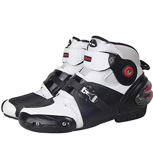 Chaussures de Moto Hommes et Femmes Bottes de Moto Bottes de Randonnée,Racing Équipement de Brigade de Moto,Noir,40-45 EU,Blanc,EU 43
