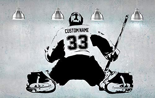 Tianpengyuanshuai Hockey Portero Jugador Arte de la Pared Nombre Número Inicio Etiqueta de la habitación de los niños Dormitorio de los niños 80x60cm