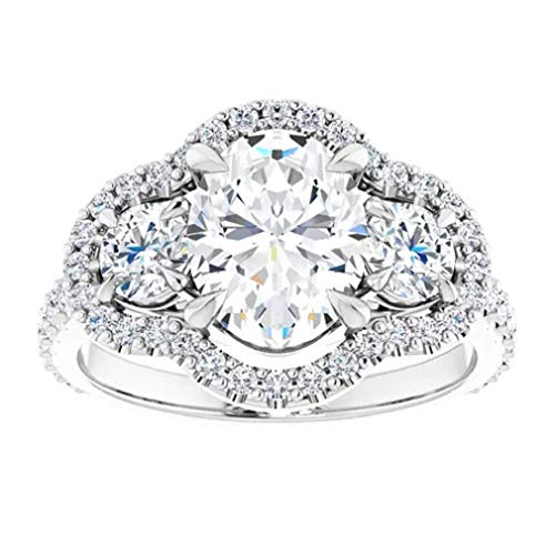 Gopi Gems Beautiful Victorian Engagement Ring, Oval 1.60CT, Colorless Moissanite Engagement Ring, 925 Sterling Silver Ring, Promise Ring, Wedding Ring, Perfact for Gift Or As You Want (V)