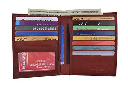 RFID Blocking Bifold Hipster Credit Card Wallet Premium Lambskin Leather (Burgundy)