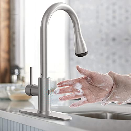 Touchless Kitchen Faucet-WaterSong Kitchen Faucet for Sink w/ Smart Sensor, Auto Off, 4Mode Pull...