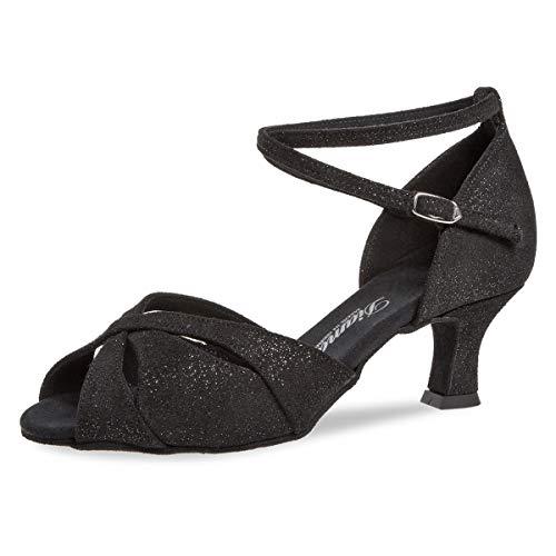 Diamant Zapatos de baile para mujer 141-067-550, de piel de ante negro/brillante, ancho G (cómodo), 5 cm, Flare, color Negro, talla 40 2/3 EU Weit